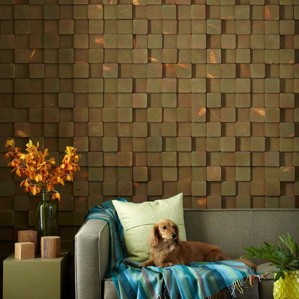 Wood block wall - for the wine room