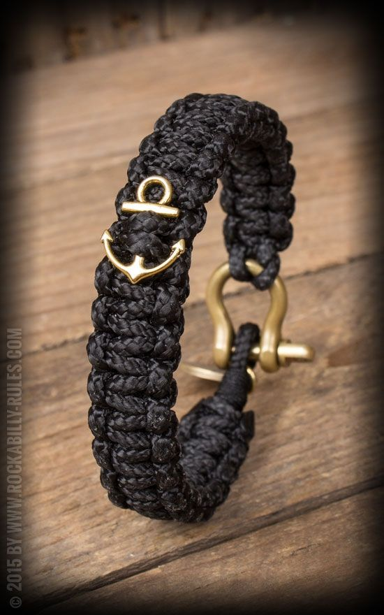 Dedicated O - Segeltau Armband - Schwarz mit Anker