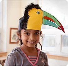 Toucan headband. Kids school project.