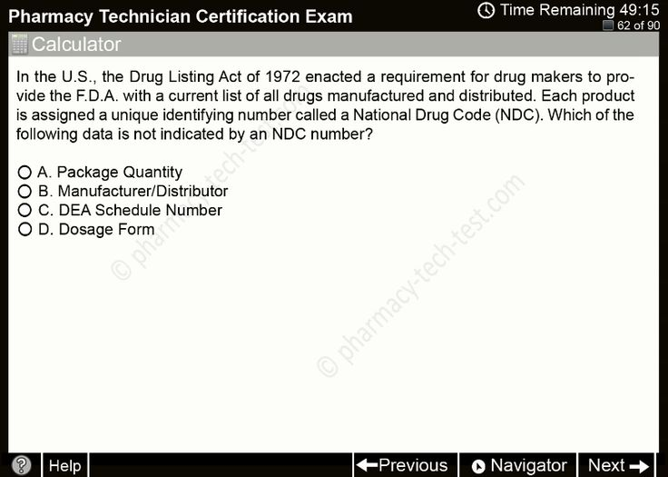 Free pharmacy technician practice tests. Study for the national exam with full lenght multiple choice questions.