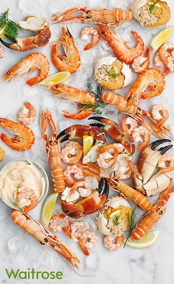 For a showstopping centrepiece at any party, try our luxury shellfish platter complete with cooked crab claws, langoustines, mini dressed crabs, king prawns and more. Find even more delicious platters like this on on the Waitrose Entertaining website.