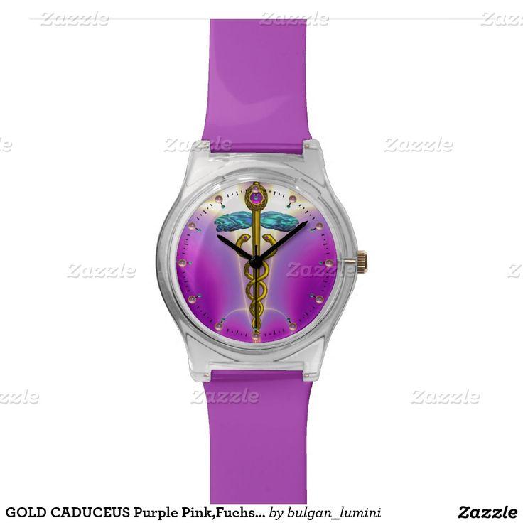 GOLD CADUCEUS Purple Pink,Fuchsia,Teal Wristwatches
