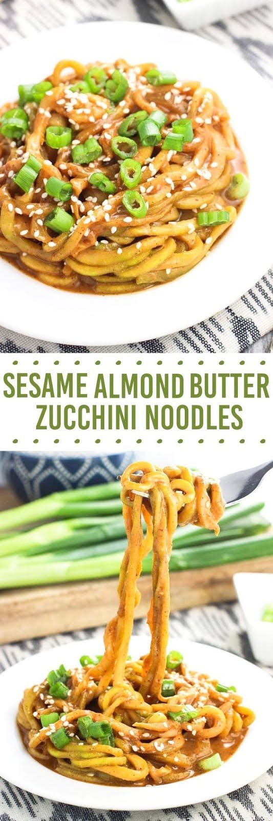 Sesame Almond Butter Zucchini Noodles