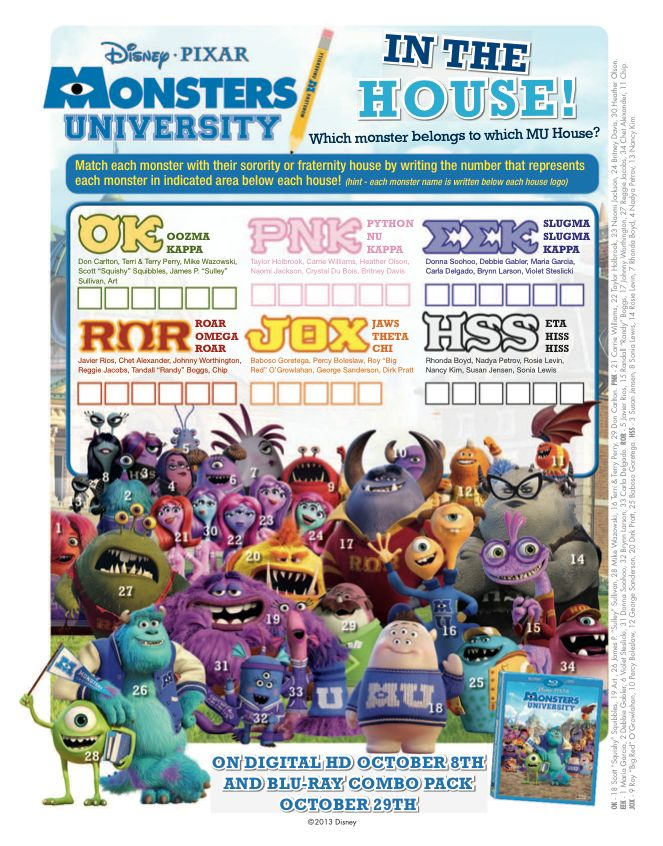 Match each monster to their fraternity or sorority house with this #Monsters University craft!