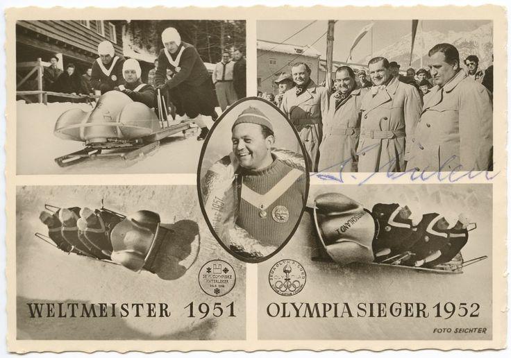 Postkarte zum Viererbob Deutschland 1952