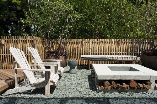 love the bamboo fence.: Fire Pits, Contemporary Huts, Patios Design, Wood Storage, Gardens, Outdoor Fire Pit, Fire Pit Design, Firepit, Storage Ideas
