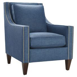 """Swoop arm chair with pewter nailhead trim and espresso-finished legs. Made in the USA.  Product: ChairConstruction Material: Wood and denimColor: Espresso and peacock Features: Made in the USANailhead trim Dimensions: 36"""" H x 35.5"""" W x 29.5"""" D"""