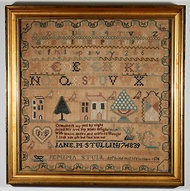 An alphabet and townscape sampler, embroidered by Jane M. Stull in 1839, with an inscription in memory of her sister.Michigan Sampler, East Coast, Things To, Art Designs, Dissertation Inspiration, Meu Murals, Memories, Lakes Michigan, Early Sampler
