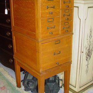 Vintage Oak Filing Cabinet 2 Drawer