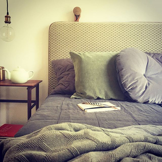 Dreamy #headboard #bythornam #madeindenmark #design #interiordesign #slowliving #velvet #leather