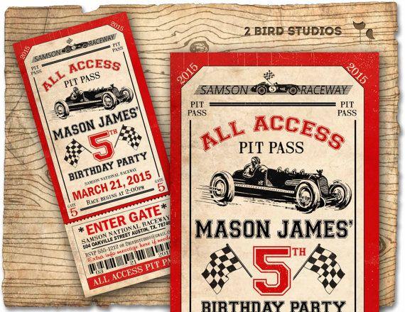 Race car birthday invitation  Race car party by 2birdstudios