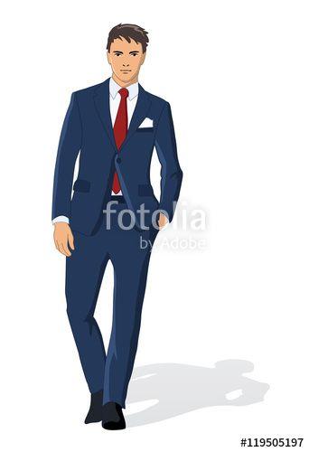 """Pobierz grafikę wektorową royalty free  """"Vector illustration of business man isolated on white"""" autorstwa Ornavi w najniższej cenie na Fotolia.com. Przeglądaj naszą bazę tanich obrazów online i odnajdź doskonałą stockową grafikę wektorową do Twoich projektów reklamowych!"""