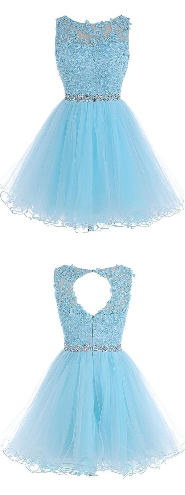 A-line Scoop Short Blue Zipper-up Organza Homecoming Dress With Appliques…