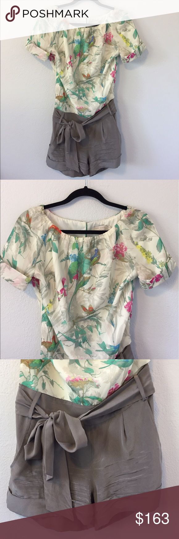 """Ted Baker Silk Nature Print Romper GORGEOUS Ted Baker Nature Print Romper. The top is Cream with Multicolor Nature Print of flowers, foliage, butterflies & birds. The shorts are a really pretty taupe/gray color & have pockets. Invisible Zipper & removable waist tie. Top is 100% Polyester & the shorts are 100% Silk. Worn once, & in excellent condition! The only sign of wear is the creasing in the silk shorts. Measurements laying flat: pit to pit: 20"""", waist side to side: 15.5"""", pit to shorts…"""