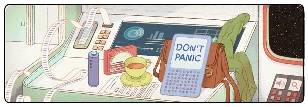 """Το σημερινό doodle της Google είναι διαδραστικό, διασκεδαστικό και αφιερωμένο στον Dooglas Adams, συγγραφέα του γνωστού βιβλίου """"The Hitchicker's Guide to Galaxy"""".    http://www.eyourmarketing.com/seo-e-marketing-news/27-douglas-adams-doodle"""