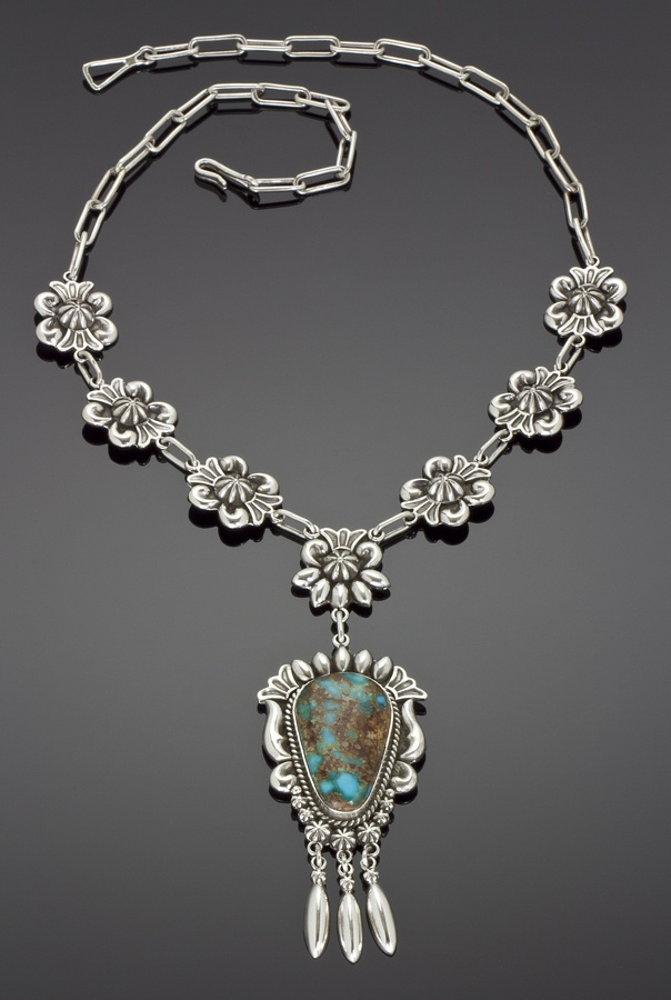 Necklace | Thomas Jim.  Sterling silver with Pilot Mountain turquoise
