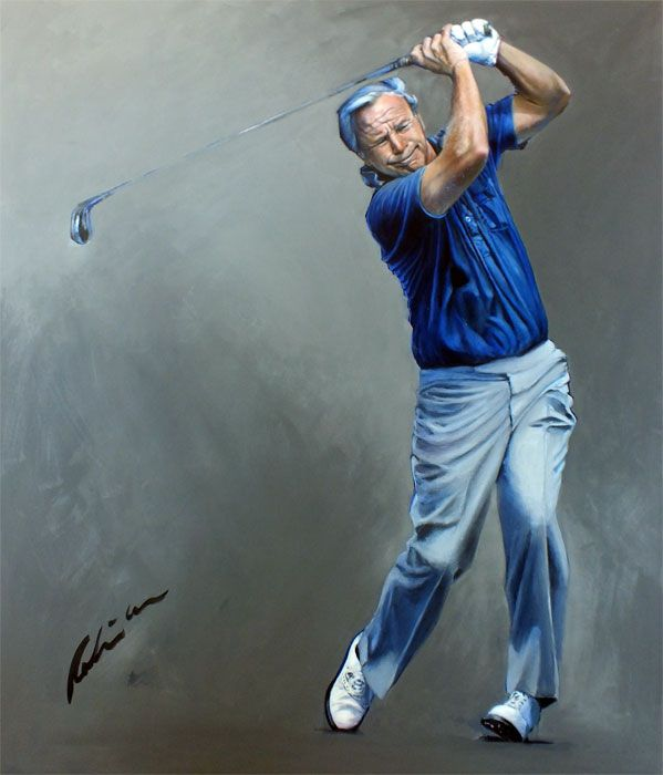 Arnold Palmer by Mark Robinson. Painted in 2013 for the NGCC, Help for Heroes Charity. Donated by Mark. Signed by Mr Palmer #arnoldpalmer #arnie #markrobinson #dubai #golfart #golfimages If you are interested in a commissioning mark to paint your swing portrait please visit www.robinsongolfart.com