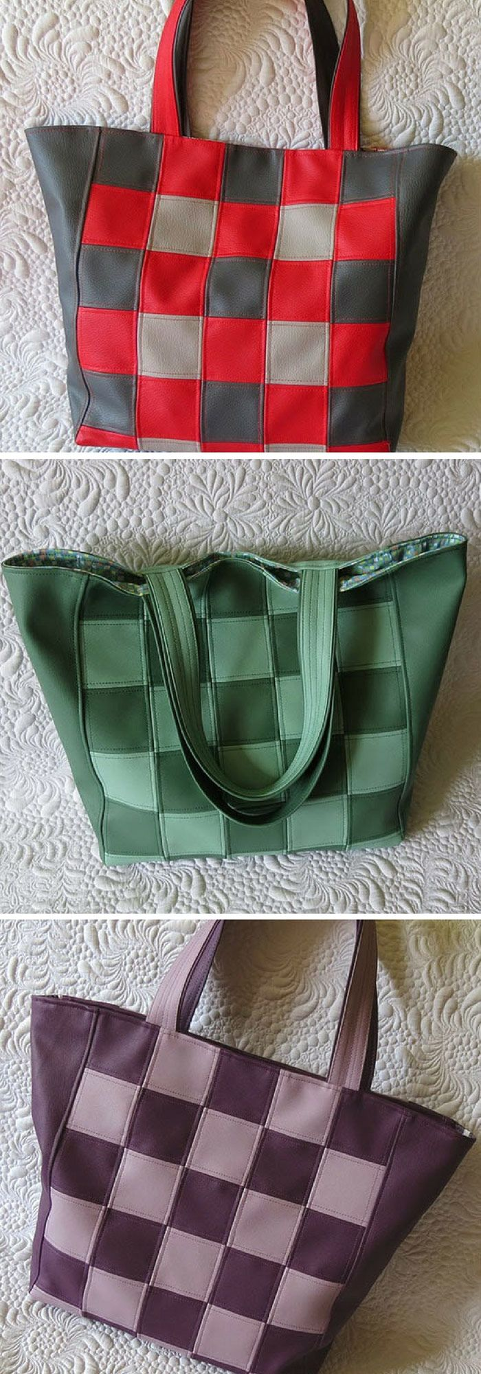 Easy pattern for faux leather bags.