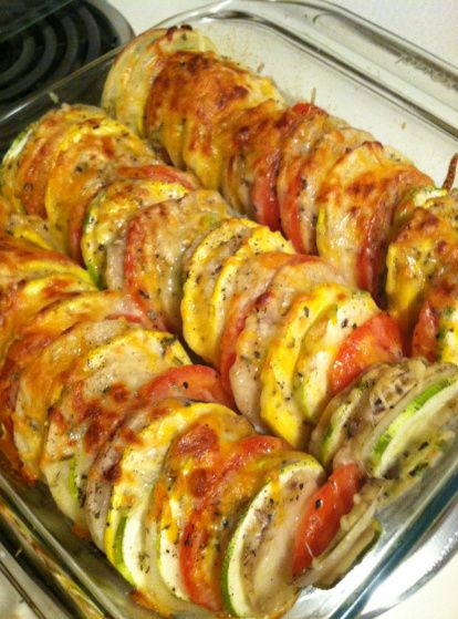 Tomato, Sweet Potato, Zucchini, Summer Squash Casserole: slice all veggies approx same size alternate slices in baking dish drizzle with olive oil minced garlic & onion, s, thyme, bake at 425 for 20 min, top with Parmesan then bake another 15 min