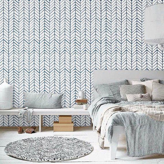 Papel tapiz desmontable temporal auta-adhesivo del vinilo, etiqueta de la pared - patrón de Chevron impresión - 026 blanco / azul marino