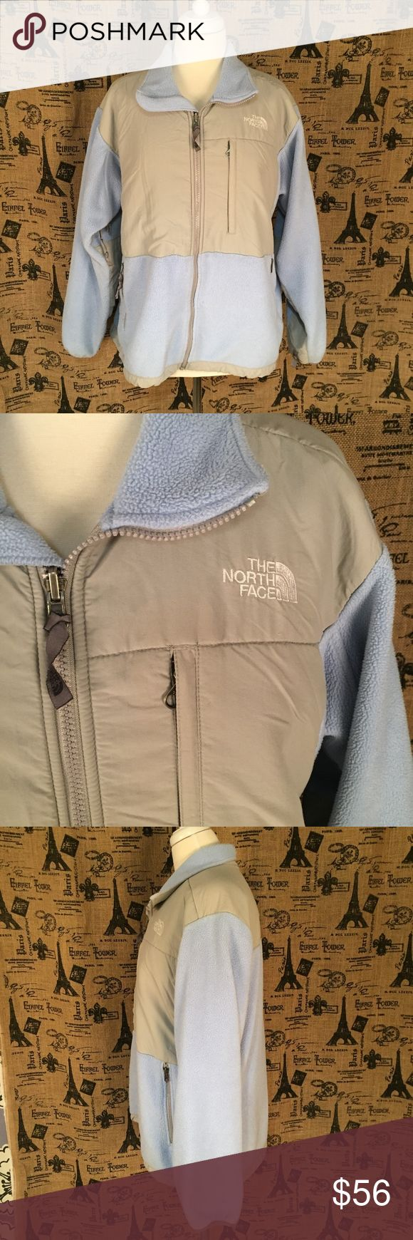 "North Face Blue and Gray Coat Size L Brand: North Face Size: L Description: Classic North Face, warm and light; plenty of zippers, pockets and drawstrings Condition: Good Fabric: Shell A: 100% polyester; Shell B: 100% nylon Bust: 44"" Length: 26"" Item #1648 Bundle Discount Available! Reasonable offers welcome! No trades please.. Thanks for stopping by!! #Poshmark #Poshmarkapp #Poshmarkcloset The North Face Jackets & Coats"