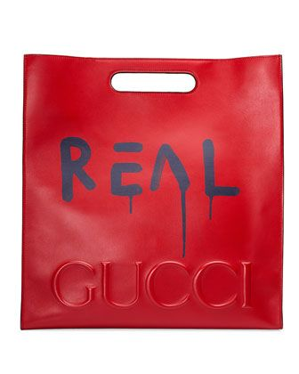 GucciGhost+Large+Leather+Tote+Bag,+Red/Blue+by+Gucci+at+Neiman+Marcus.