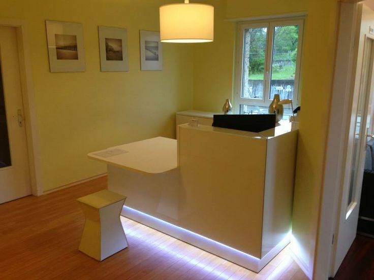 Linea reception desk project in Bulle, Switzerland.