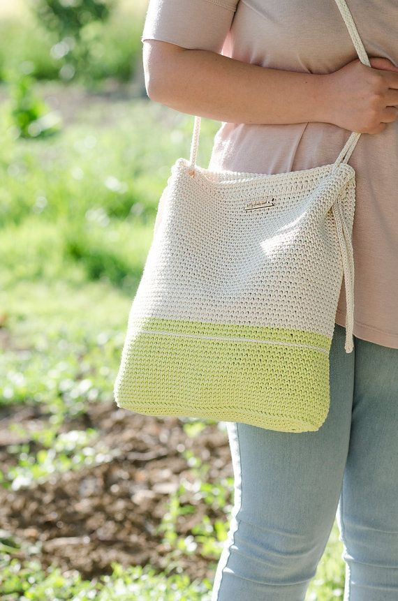 Crochet bag #MyLovelyBag Rome light green and cream with rope handles by MyLovelyHook