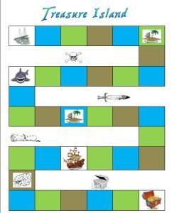 Bordspel piraten Geschikt voor kleuters om te spelen als ganzenbord. Gooien met de dobbelsteen en steeds evenveel vakjes vooruitgaan. Wie is het eerste bij de schat?