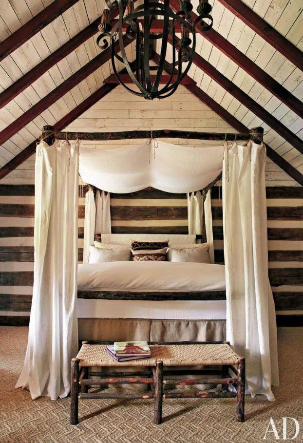 50 rustic bedroom decorating ideas interior design - Stone Slab Canopy Decorating