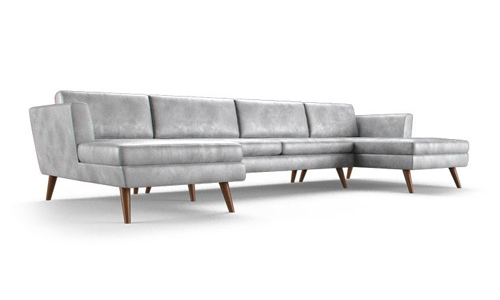 Deluna Leather U-Chaise Sectional
