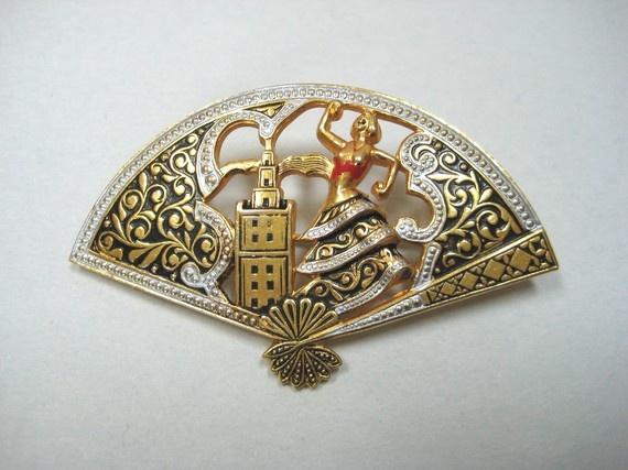 Vintage jewelry Damascene brooch pin Flamenco dancer by RMSjewels, $16.00: