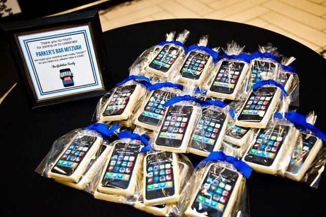 iPhone App Cookies, Bar Mitzvah Party Favors {Planning: Party Perfect, Photographer: Jennifer Werneth} - mazelmoments.com