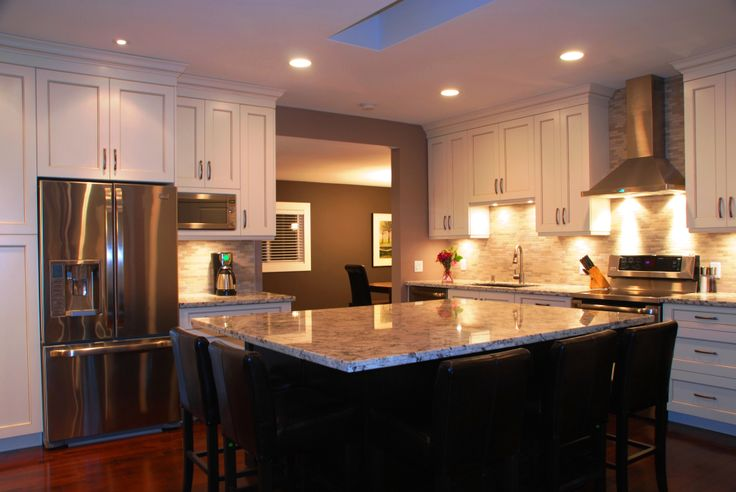 Dark Stained Island and Cream Cabinets  Completed Kitchen Renovation