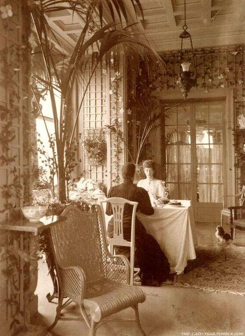 Queen Alexandra & her sister,Empress Maria,in a beautiful sun room,circa 1880s