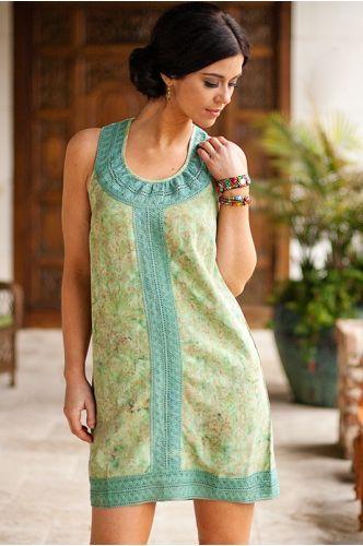 Cape Cod Batik Dress | Knee length Batik dress | green batik dress | Indonesia | shopgofish.com