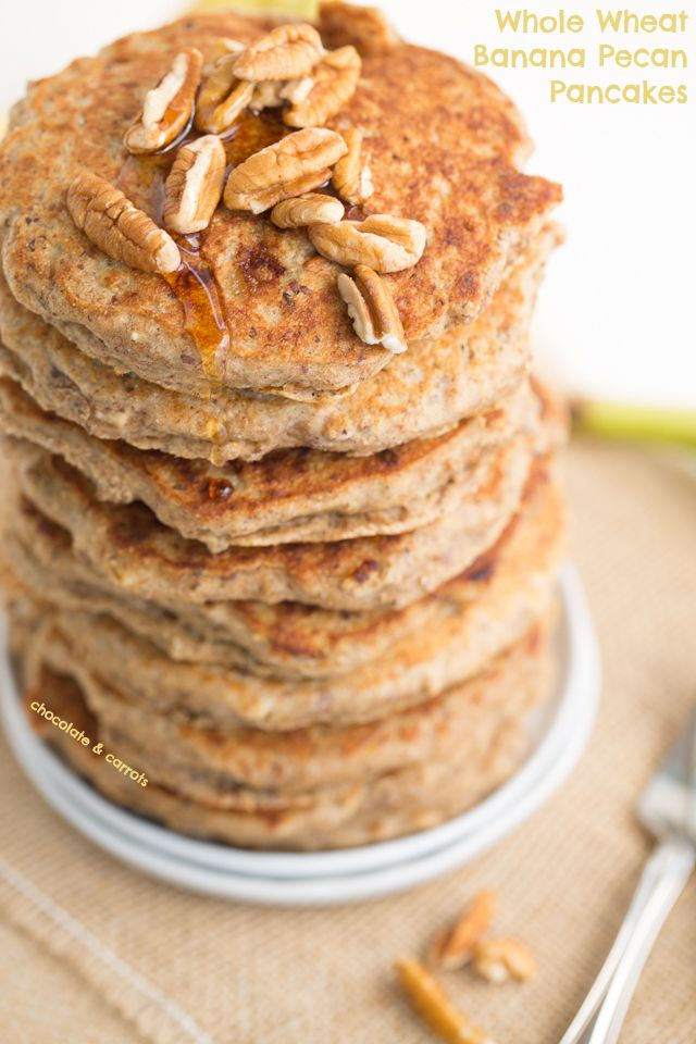 Whole Wheat Banana Pecan Pancakes | chocolateandcarrots.com