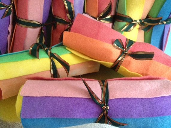 Hand dyed  PURE WOOL FELT  Pack of 7 Rainbow by HeartFeltDolls
