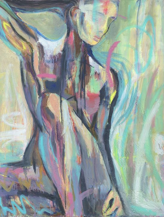 """Large Abstract Art Painting - Backlight - Living Room Art - Colorful Modern Painting- Nude Figure Painting - 30x39"""" (78x100 cm)"""