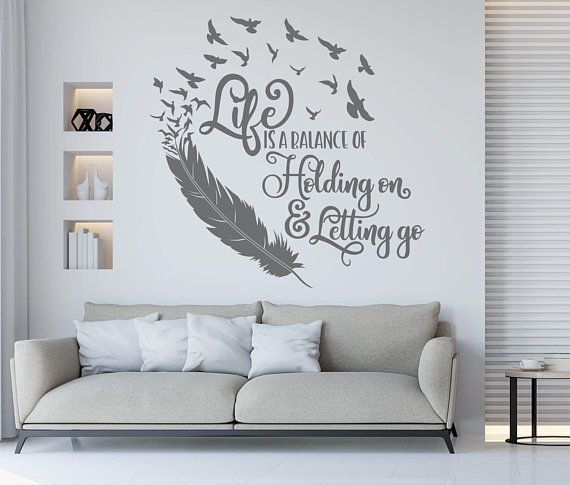 Feather Quote Wall Art Life Is A Balance Holding On Letting Go