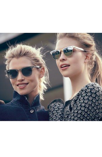 Aluminum Frames. Ray-Ban Polarized 'Clubmaster' 49mm Sunglasses | Nordstrom