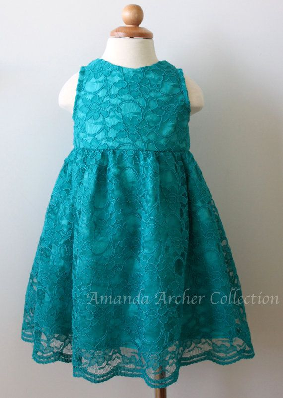 pretty teal lace handmade flower girl dress - great for a beach wedding
