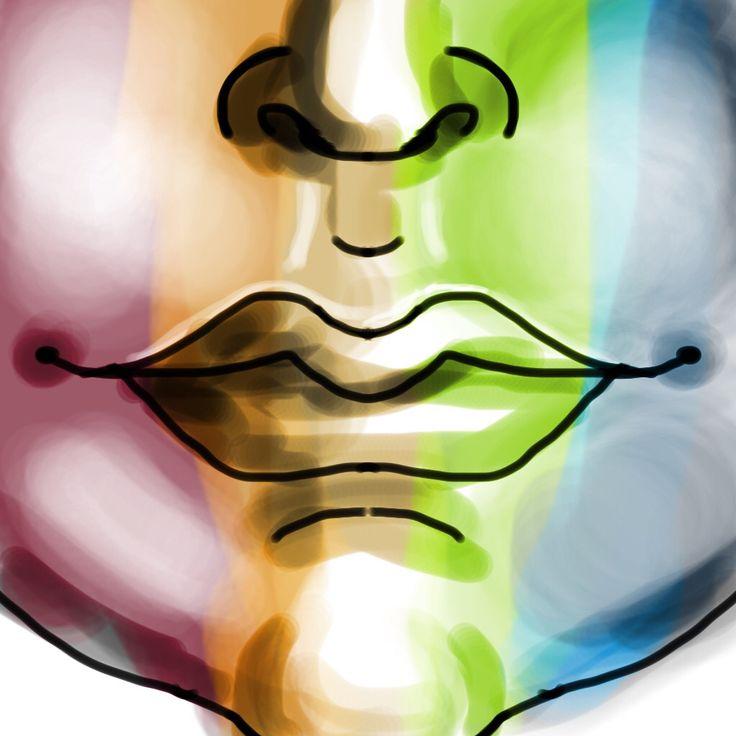 Rainbow face with high contrast