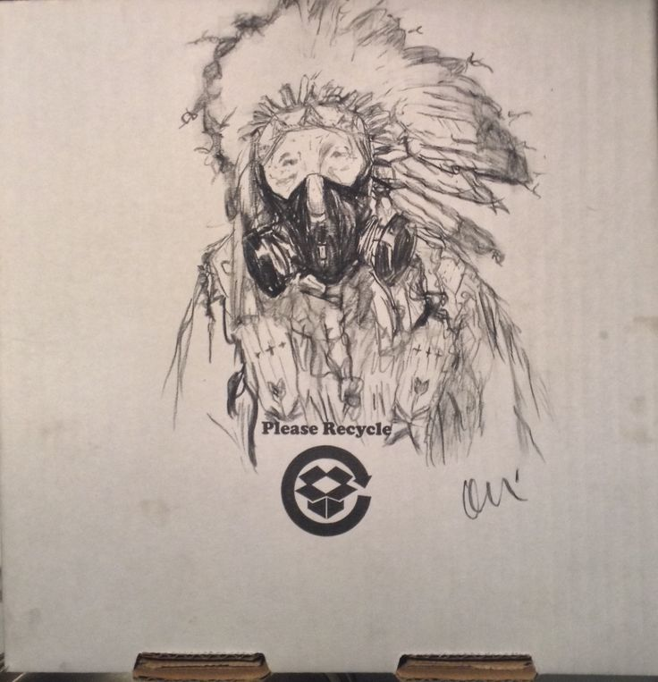 Indian Pizza Co., 2015 10x10 inches, charcoal on cardboard pizza box by Levi Nelson