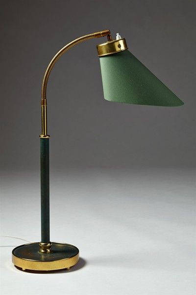 Josef Frank; Brass and Enameled Brass Table Lamp for Svenskt Tenn, 1940s.