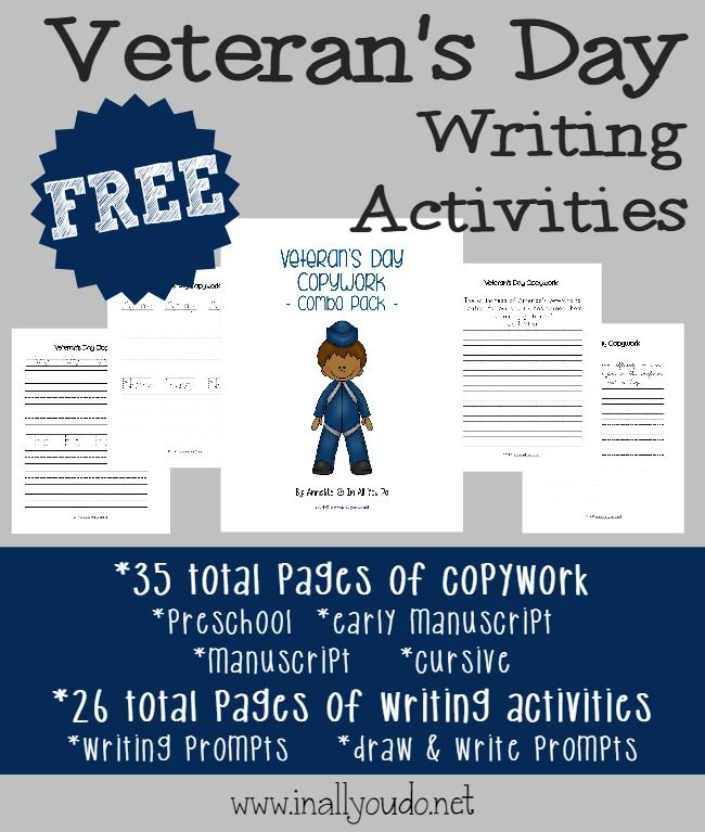 These {free} Veteran's Day Writing Prompts and Copywork printables will be a perfect addition to any unit study.