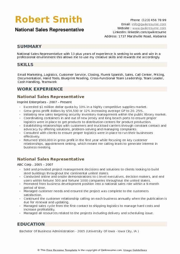 Sales Representative Resume Sample Awesome National Sales Representative Resume Samples Job Cover Letter Sales Representative Sales Resume Examples