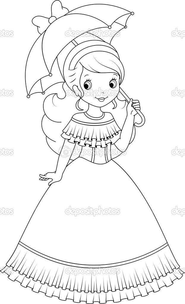 Pequena princesa com um guarda-chuva em uma caminhada | muñecas ...