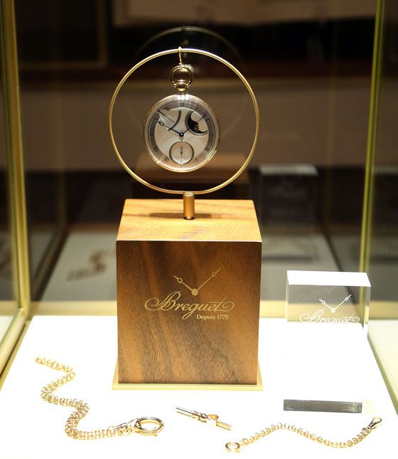 "A replica of the perpétuelle pocket watch with ""à toc"" quarter repeater known as the ""No. 5,"" on display at  ""Breguet the Innovator. Inventor of the Tourbillon."""