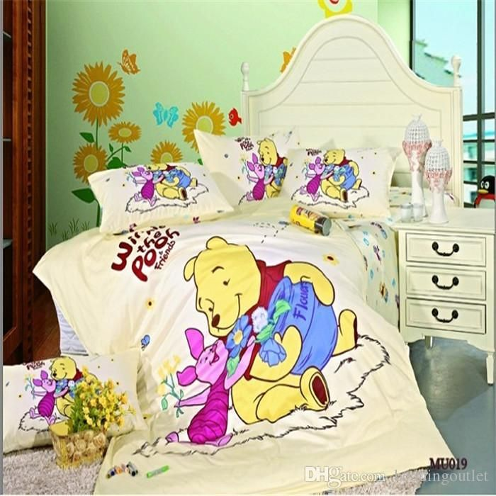 Yellow Winnie Pooh Classic Bedding In The Grass Winnie Pooh Bed In A Bag Bedding Sets Baby Bedding Duvet Boys Bedding Set From Beddingoutlet, $69.35| Dhgate.Com